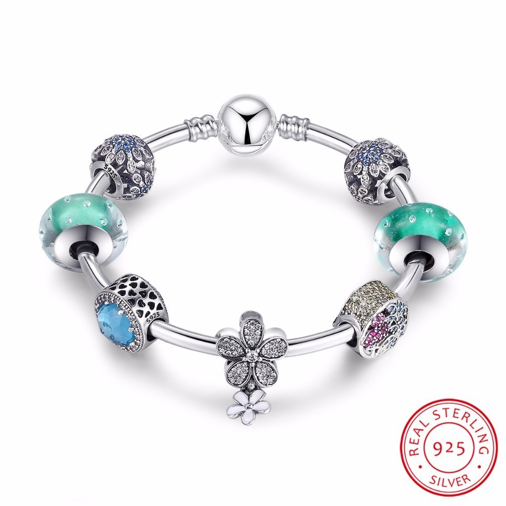 цена на 925 Sterling Silver Blooming Daisy,Tropical Flamingo, Light Green Crystals Charm Bracelets Sterling Silver Jewelry PSB017
