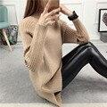 Бесплатная доставка моды Корейских женщин зима наполовину водолазка с длинным рукавом набор глава длинный свитер свободные толстым дном вязаные свитера
