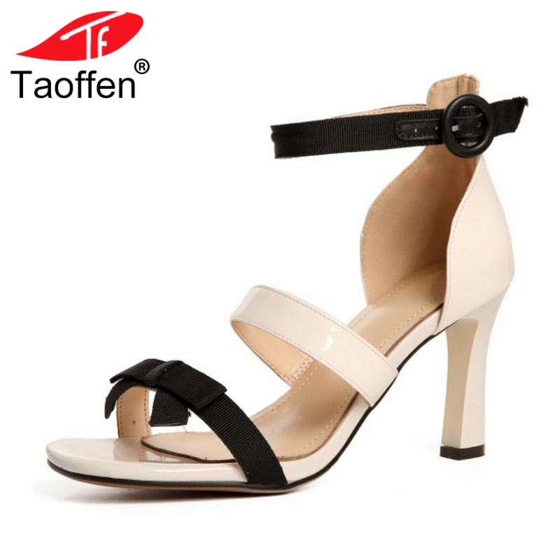 TAOFFEN Women High Heel Sandals Buckle Open Toe Mixed Color Genuine Leather Ladies Shoes Sexy Sandals Party Footwear Size 33-40 hee grand lace up gladiator sandals 2017 summer platform flats shoes woman casual creepers fashion beach women shoes xwz4085
