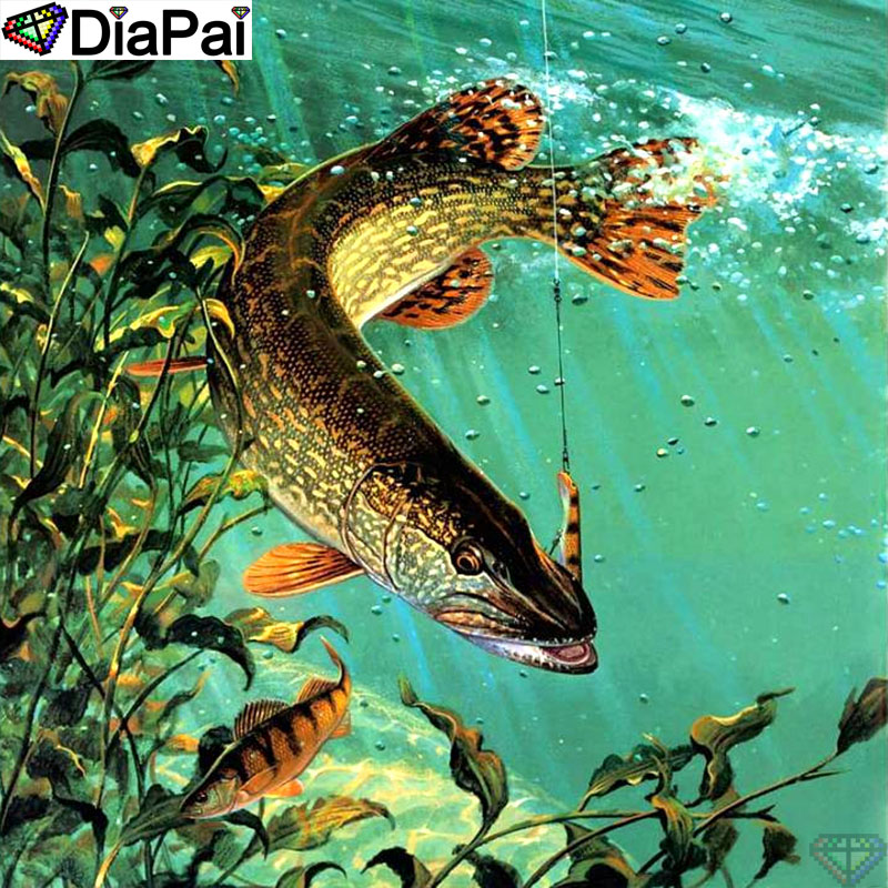 DiaPai Diamond Painting 5D DIY 100 Full Square Round Drill quot Animal fish quot Diamond Embroidery Cross Stitch 3D Decor A24718 in Diamond Painting Cross Stitch from Home amp Garden