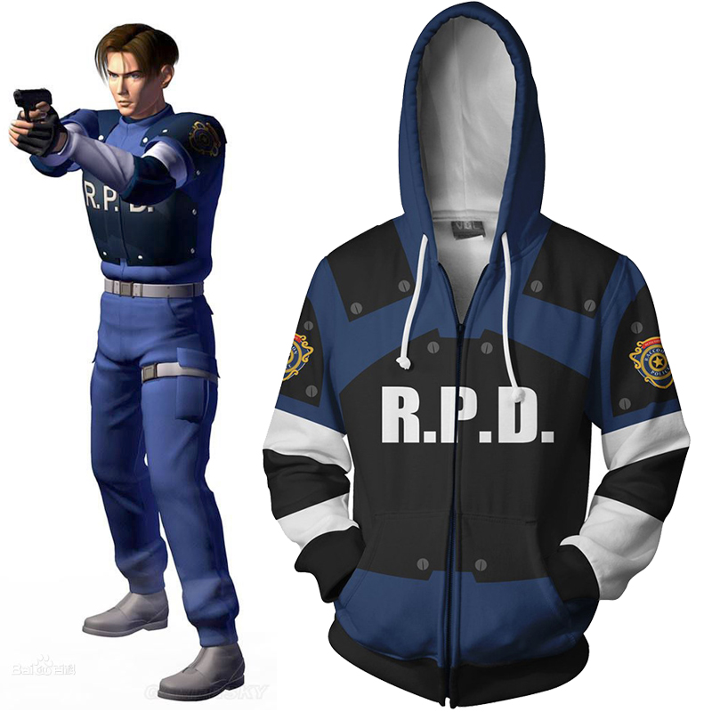 Leon S kennedy Hoodie Biohazard Cosplay Costume Resident Evil Jacket 3D Zip Pullover Hooded Coat Unisex Jumper Sweatshirts