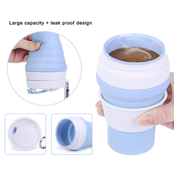 Folding Portable Water Cup Silicone Telescopic Drinking Collapsible Coffee Cup Multi-function Travel Outdoor Silica Cup
