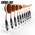 MAANGE 10 holes acrylic display holder stand for makeup oval brushes Dryer Storage Organizer Brush showing Rack beauty tool
