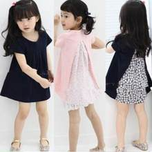 JMFFY 2019 Baby Girls Dresses Summer Enfants Short Sleeve Fille Robe Solid O-Neck Cotton 3-8T Children Clothing Party Gifts Kids(China)