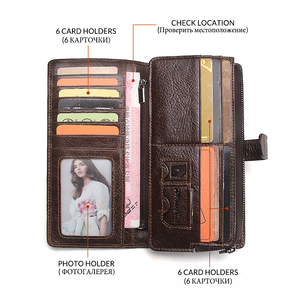 Image 3 - 2020 echtes Leder Brieftaschen Kupplung Männer Patchwork Geldbörse Und Handy Brieftasche Lange Luxus Marke Münze Tasche Karte Halter Retro Stil