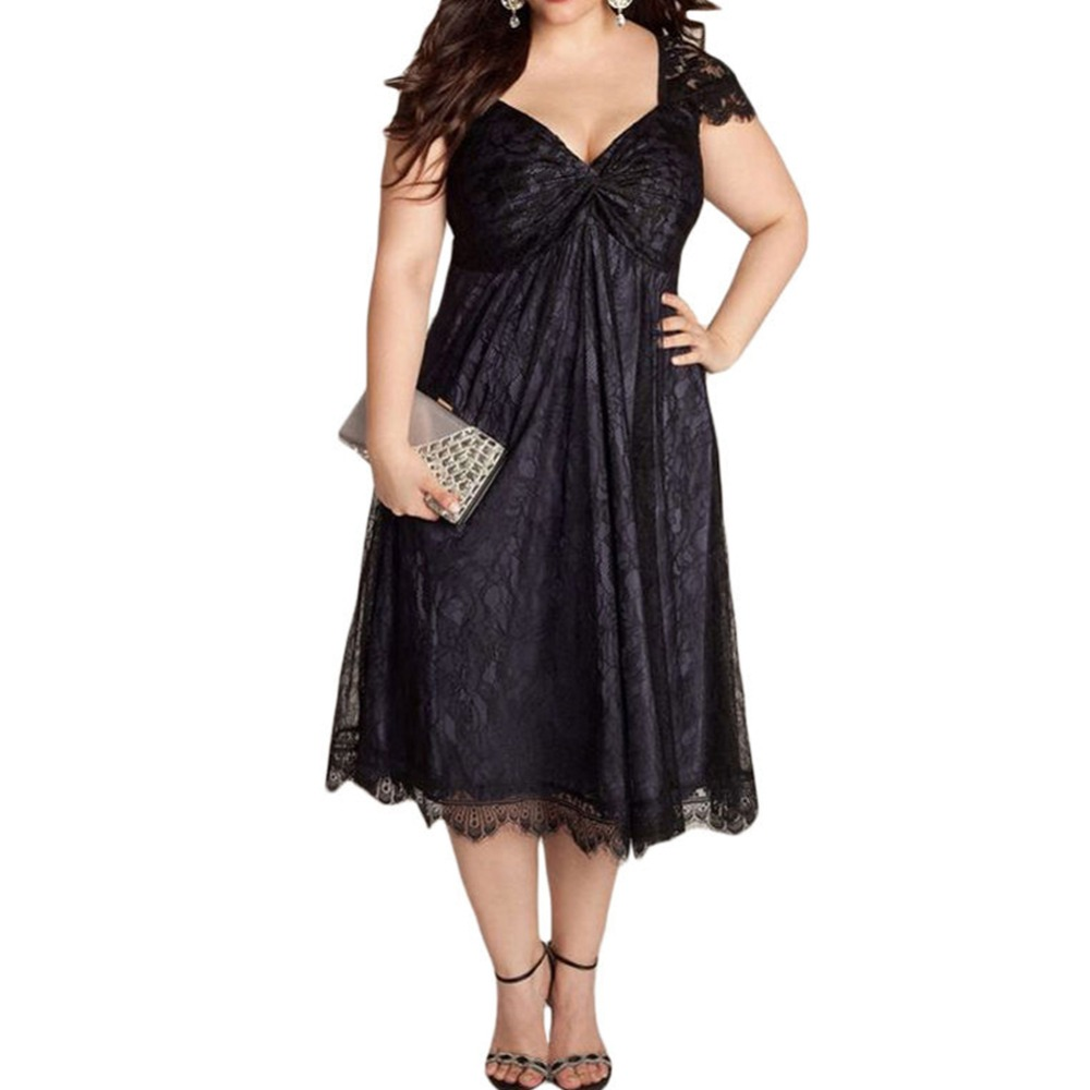 YJSFG HOUSE NEW Women <font><b>Dress</b></font> Plus Size Black <font><b>Red</b></font> Floral Lace Embellished <font><b>Dress</b></font> Club 5XL Ball Gown V-Neck Summer Party Hot image