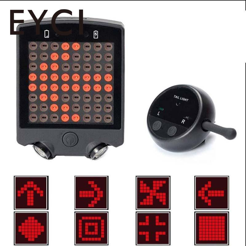 EYCI Bike Bicycle Rear Light Wireless Remote Turn Signals For Bikes 64LED Laser Waterproof Rechargeable Bycicle Accessories meilan x5 wireless bike bicycle rear light laser tail lamp smart usb rechargeable cycling accessories remote turn led