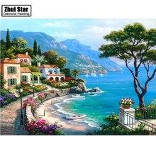 Diy diamante bordado villa junto al mar plaza llena de perforación de diamante punto de cruz pintura paisaje natural mosaico imagen zs