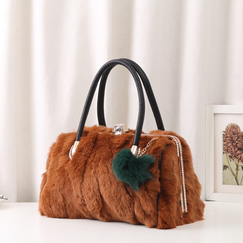 2017 Luxury Colorful Fur Shoulder Bag Real 100% Rabbit Women Genuine Leather Handbag Fashion Top-handle Bag Plush Crossbody Bag
