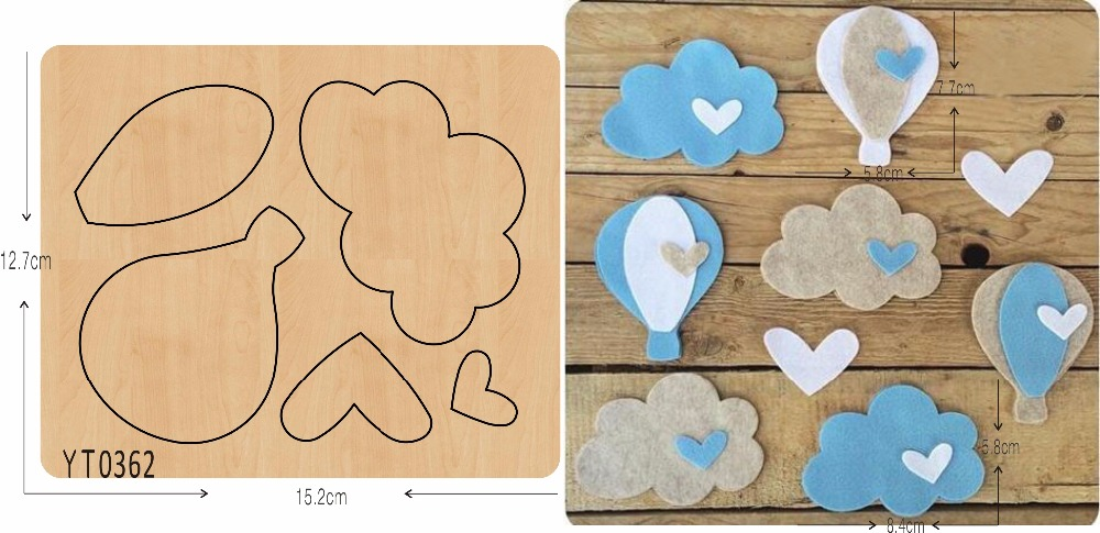 Clouds and hot air balloons DIY new wooden mould cutting dies for scrapbooking Thickness/15.8mm/ /YT0362Clouds and hot air balloons DIY new wooden mould cutting dies for scrapbooking Thickness/15.8mm/ /YT0362