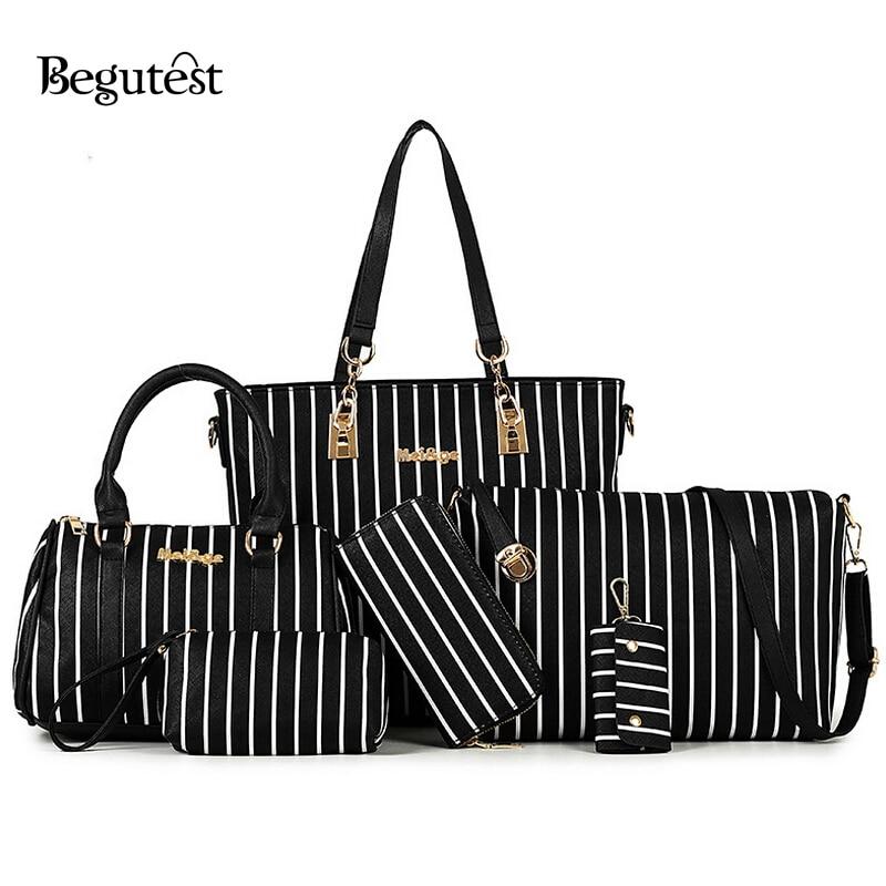 ФОТО 6 In 1 Women Bags Set High Quality PU Leather Women's Striped Bags Cute Purses And Handbags Luxury Fashion Female Shoulder Bag