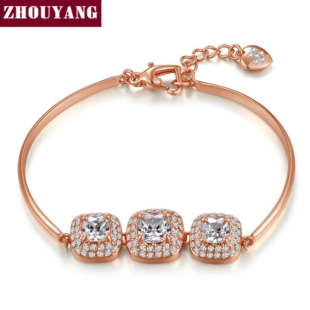 Top Quality Simple Fashion Crystal Rose Gold Color Bracelet Austrian Crystal ZYH031 ZYH036