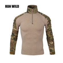 HAN WILD Gear Camouflage Army T-Shirt Men RU Soldiers Combat Tactical T Shirt Military Force Multicam Camo Long Sleeve