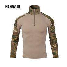 Камуфляжная армейская футболка han wild gear для мужчин ru солдат