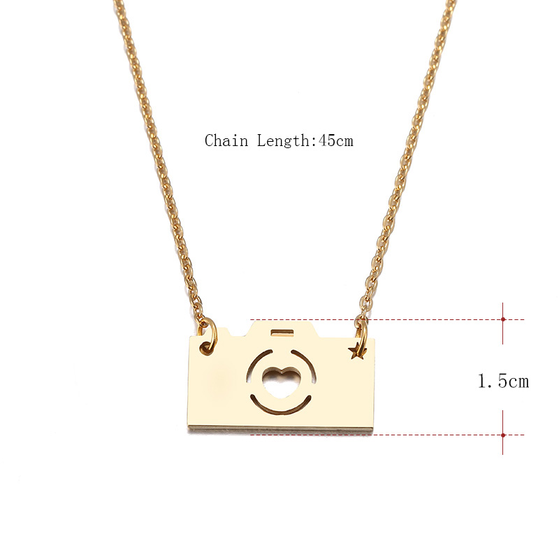 Hibobi Stainless Steel Necklace Women Jewelry Camera Trendy Necklaces Pendants Chain Donot Fade Valentine's Day Gift (4)