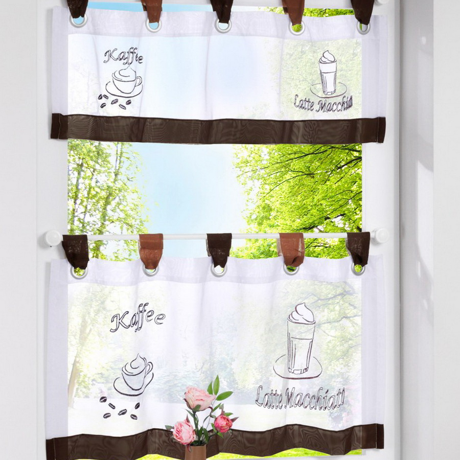 European Style Bistro Window Curtain Fancy Tap Top Kitchen Coffee Tier Cartoon For Living Room