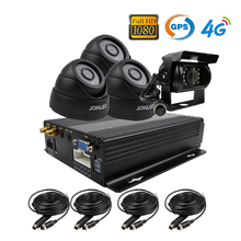 Free Shipping 4 Channel GPS 4G 1080P AHD SD Car DVR MDVR Video Recorder Realtime Monitor Rear View Dome Camera for Truck Van Bus