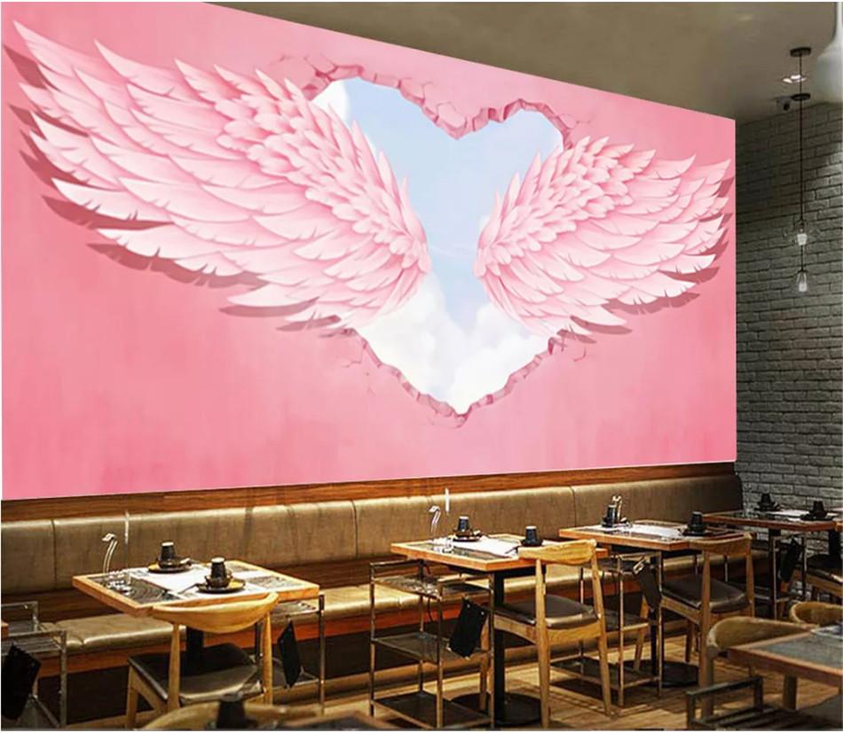 Modern Fashion Ins 3d Pink Heart Angel Wings Industrial Decor Wall Mural Hot Online Search Red Cafe Dessert Shop Wallpaper 3d Wallpapers Aliexpress