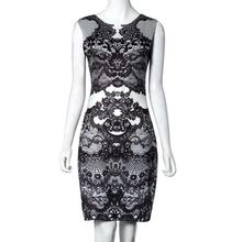 2018 Dress For Women Sleeveless Summer O Neck Flower Vintage Print Elegant Pencil Dress Sleeveless Party Dress Clothing Women