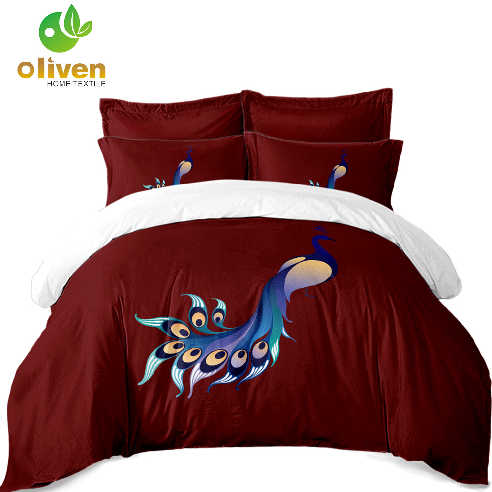 Luxury Bedding Sets Beautiful Peacock Print Duvet Cover Sets Soft Bedclothes Flat Comfortable Bed Cover ropa de cama S20