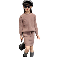 Sweater For Baby Girls Winter Warm Clothing Set Children Knitwear Sweater Skirt 2 Pieces Dress Suit