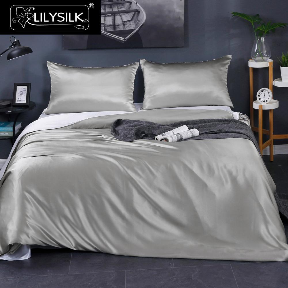 LilySilk Bedding Set 4pcs 100 Mulberry Silk Luxury Queen King Seamless Duvet Cover Flat Sheet Terse