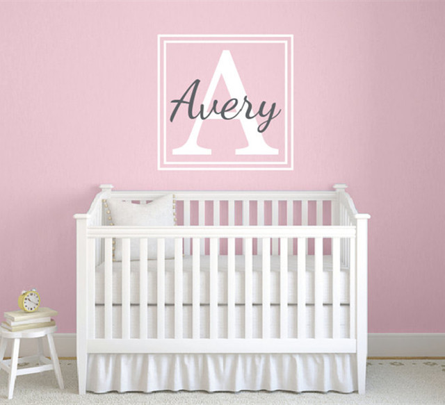 Custom Name Wall Sticker For Kids Nursery Bedroom Decorative Initial ...