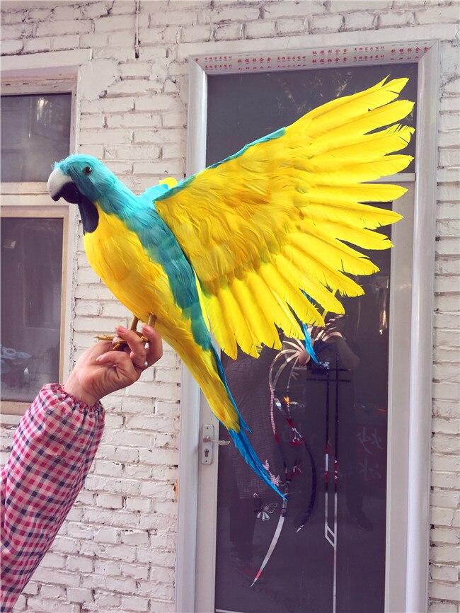 Grande nouvelle simulation perroquet vert & jaune modèle polyéthylène & fourrures ailes perroquet cadeau environ 100x60 cm 1154