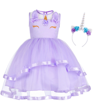 цена на Cute Flower Girls Unicorn Dress Up Sleeveless Tulle Ball Gown Dress Headband Outfit Kids Birthday Pageant Princess Party Dress