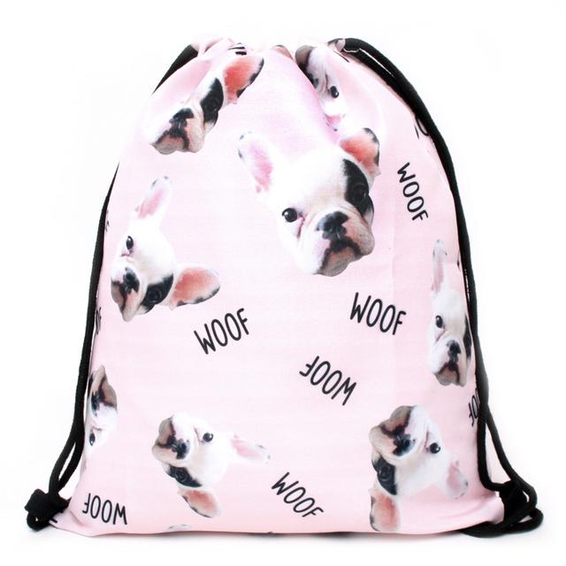 Cute Pink Dog Patterned Backpack