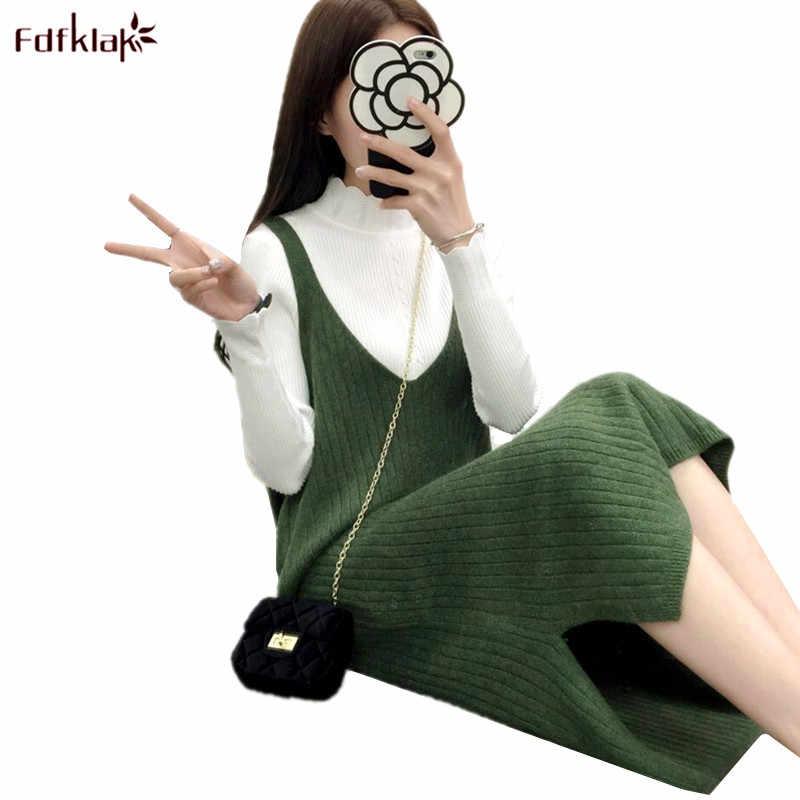 Fdfklak mujeres coreanas vestido de punto sin mangas casual chaleco Vestidos Mujer vestido 2018 nuevo vestido de lana suelto primavera otoño vestido