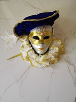 100 Real Venice Mens Carnival Royal Blue Golden Embroidery Costume With Handmaking Hat And Mask Medieval