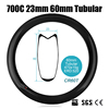 Catazer 700C 23mm Wide Full Carbon Fiber 60mm Tubular Road Bicycle Rim Wheel Triathlon TT Cyclocross