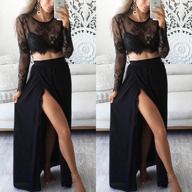 c1817abce7804 2Pcs Sexy Women Elegant Lace Long Sleeve See Through T-shirt Crop Tops High  Waist