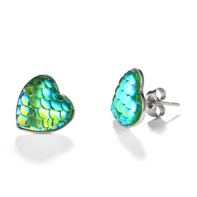 Fashion Colorful Heart Stud Earrings Party Wedding Jewelry Trendy Multicolor Mermaid Fish Scale Little Earrings Female Bijoux