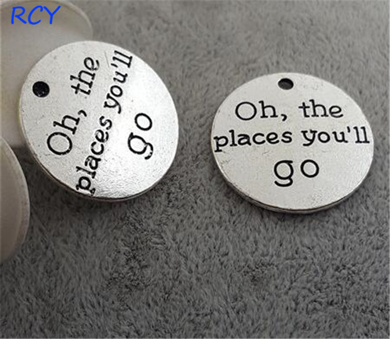 Top Quality 20 Pieces/lot 25mm Round Disc Letter Printed Oh the places you'll go charms travel charms for jewelry making image