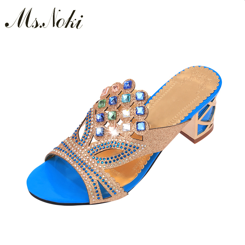 Women Sandals Bathroom Platform Slippers Summer Casual Shoes Female Fashion Home Crystal Square Heel Flip Flops Ms.Noki Hot xiaying smile summer woman sandals square heel women slippers slides shoes women pumps fashion casual bling crystal women shoes