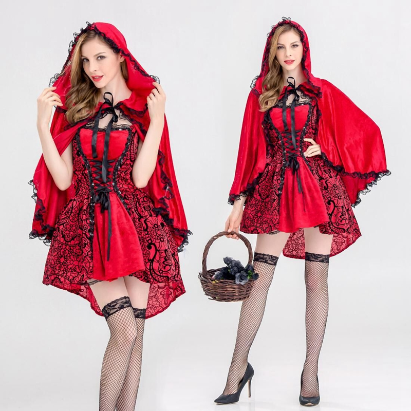 CFYH 2018 New High quality Sexy Little Red Riding Hood dress Party adult Small RedCap cosplay costume for Women girl