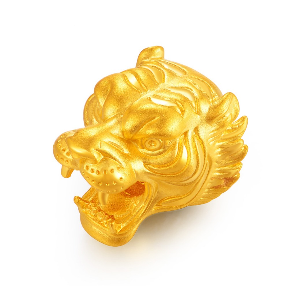 New Arrival Pure 24k Yellow Gold Women 3D Lucky Tiger Bead Pendant 2-2.5g