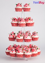 YestBuy 4 Tier Maypole Round Wedding Party Tree Tower Acrylic Cupcake Display Stand With Base (4 (12cm gap))(16.3 Inches)