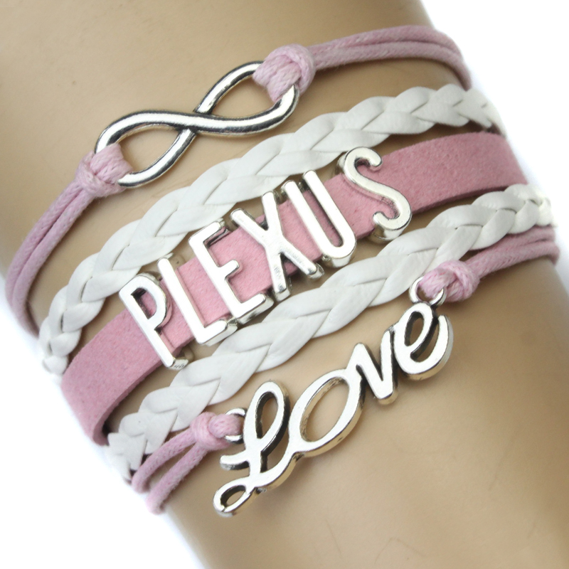 High Quality Infinity Love Plexus Bracelet Pink White Wax Suede Leather Bracelet Custom Any Themes Drop Shipping ...