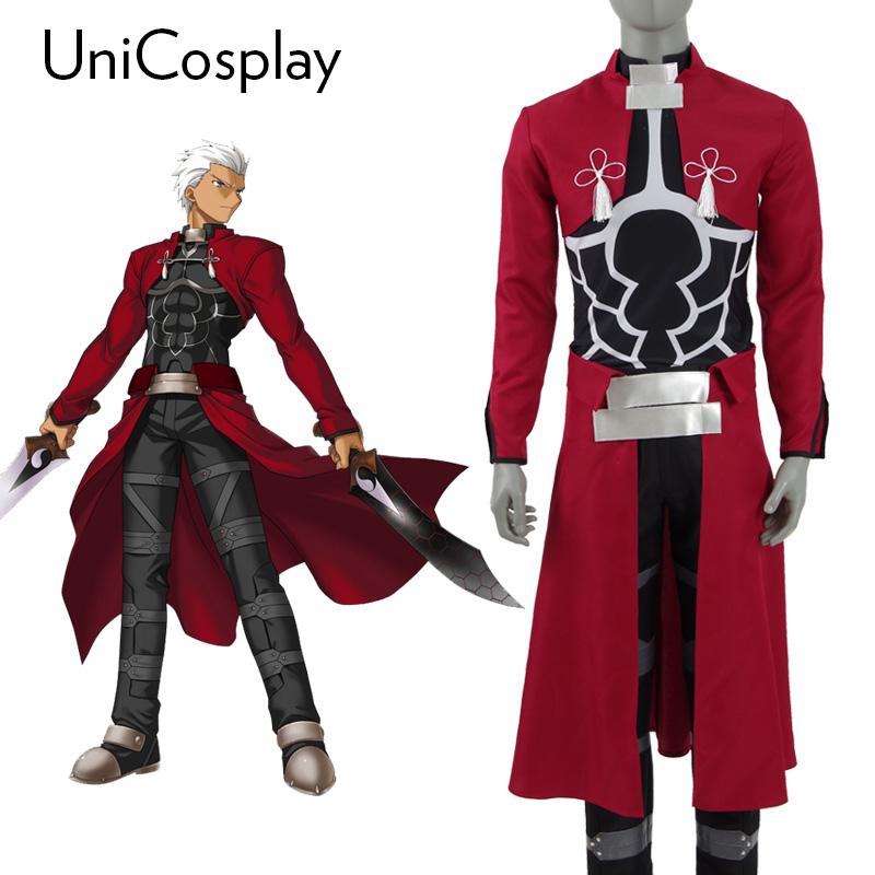 Fate Stay Night Archer Shirou Emiya Cosplay Costume Servant Halloween Party Battle Suit Red Trench Black Shirt Pants Full Set