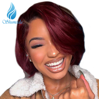 SHUMEIDA 150 Brazilian Glueless Lace Front Human Hair Wigs Straight Natural Black Red Ombre Short Human