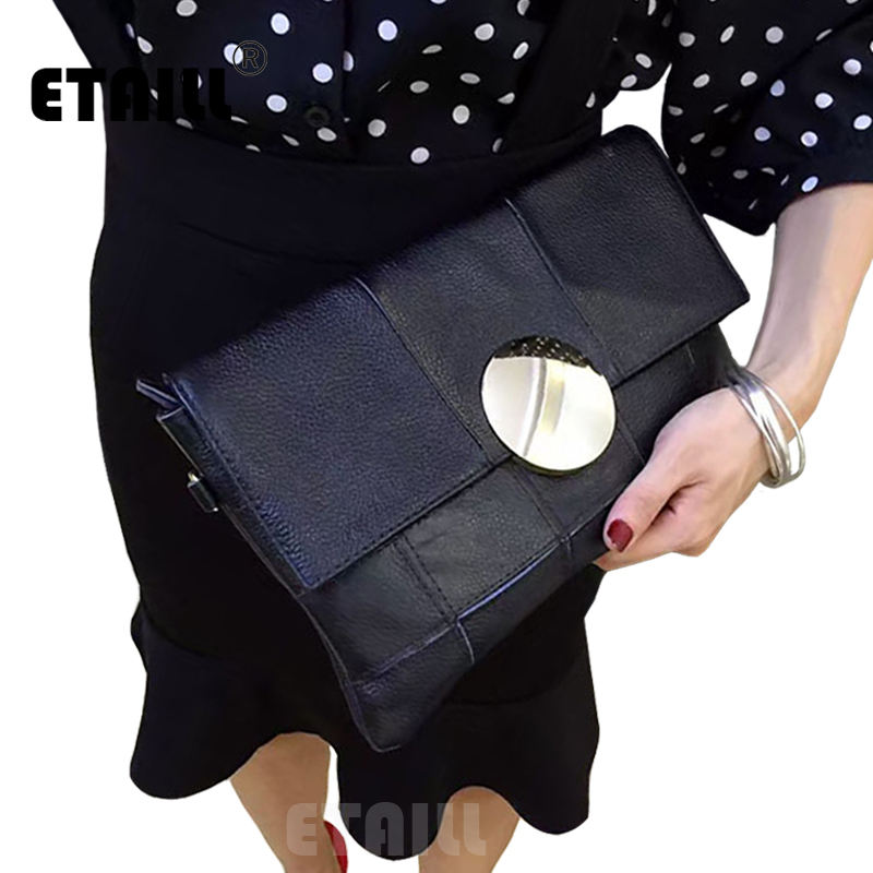 2017 Black Patchwork Rounded Metal Handbag Party Evening Envelope Clutch Bag Real Leather Crossbody Bags for Women Luxury Brand
