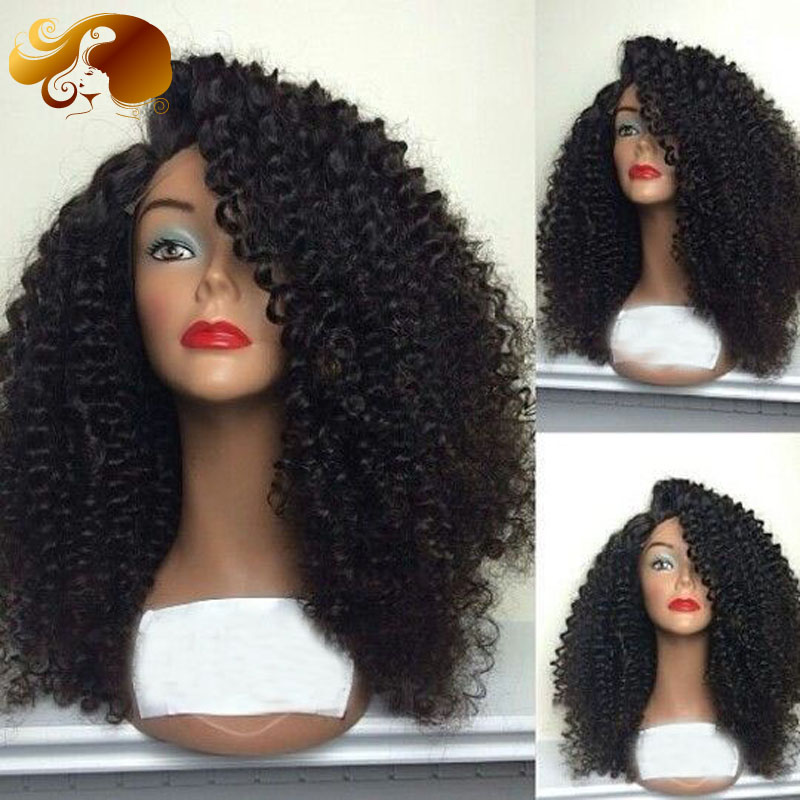 150density Peruvian Tight Curly Full Lace Human Hair Wigs Side Part Virgin Hair Wig Bleached Knots Lace Front Wigs Black Women