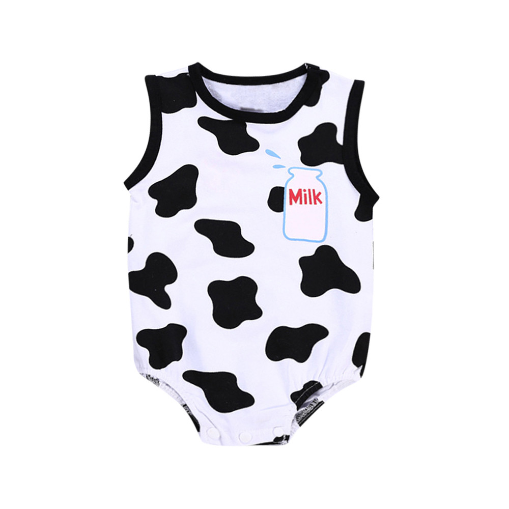tutu Toddler Baby Kid Boy&Gilr Romper White Cows Letter Print Short Sleeve Jumpsuit Outfits Girl clothes summer 2018#zsa