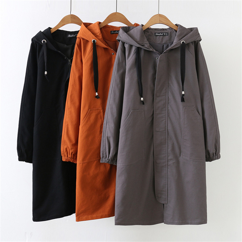 2019 Spring Autumn Casual Female   Trench   Coat 4XL Women Windbreaker Hooded Coats Oversized Loose Long Sleeve Long Outerwear