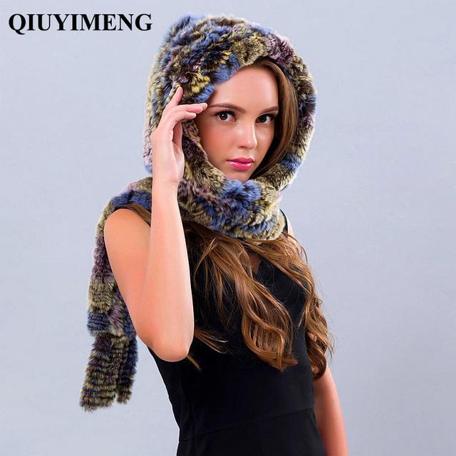 Mujeres Invierno Bufandas Con Flecos Capucha Sostenga Oídos de Punto Real Rex Sombreros Para Las Mujeres de Piel de conejo Bufanda de La Piel Real de Piel Espesar Bufanda
