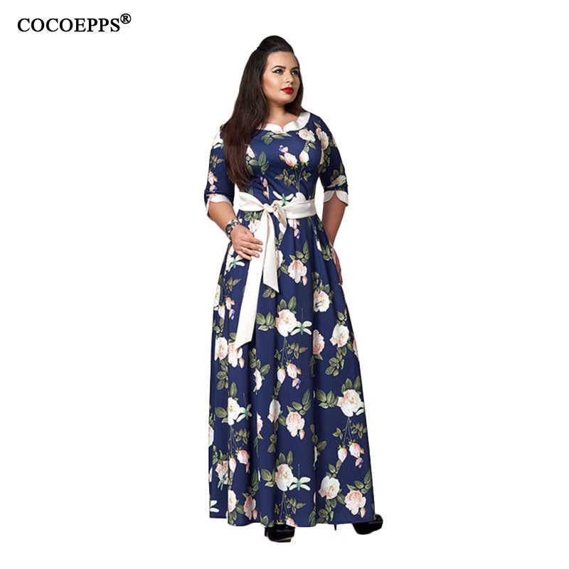 2018 Autumn Women Dresses Elegant Large Size Sashes Loose Dress Maxi Dress  Casual Floral Print Vintage 5298701bca22
