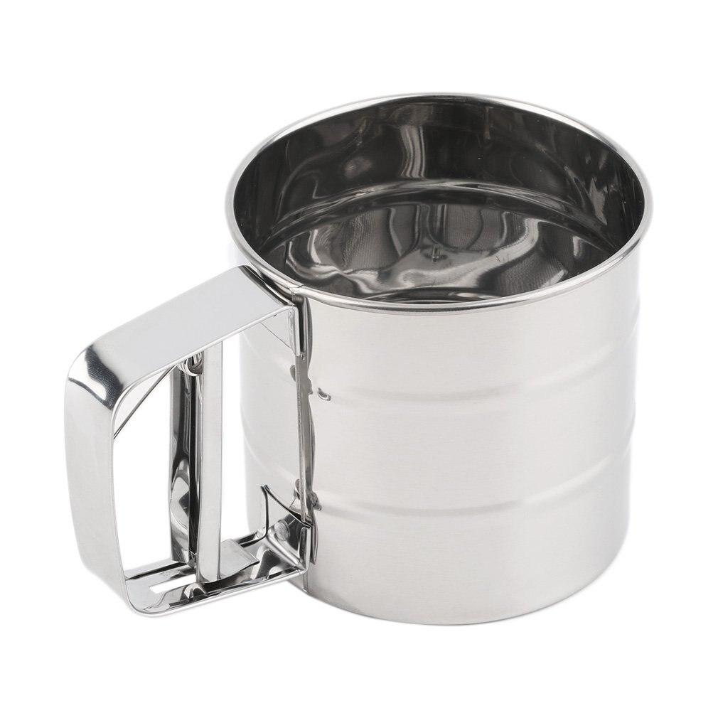 RoseSummer Manual Baking Mesh Flour Icing Sugar DIY Stainless Steel Sifter Sieve Cup Shaker